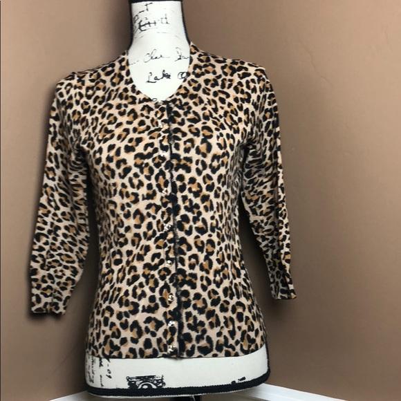 3f495c3210fa WHBM Leopard Print snap front cardigan sweater. M 5aba9cd345b30c866d5caaef